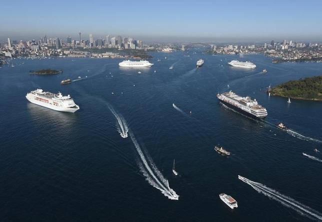 Five ships from the P&O Cruise line meet for the first time on Sydney harbour, Australia, November 25, 2015. REUTERS/James Morgan/Handout via Reuters