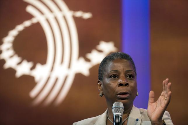 Ursula Burns, chief executive officer of Xerox Corporation, takes part in a discussion during the Clinton Global Initiative's annual meeting in New York, September 29, 2015.  REUTERS/Lucas Jackson