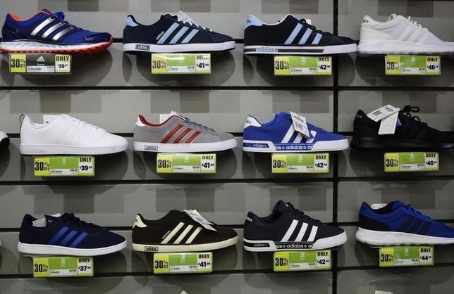 Adidas shoes are displayed in a Sports Direct store in London March 5, 2016.    REUTERS/Kevin Coombs