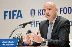 FIFA President Gianni Infantino speaks during a news conference in Seoul, South Korea, April 27, 2016.  News1/Park Se-yeon/via REUTERS