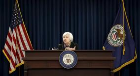 U.S. Federal Reserve Chair Janet Yellen holds a press conference following the two-day Federal Open Market Committee (FOMC) policy meeting in Washington March 16, 2016.REUTERS/Kevin Lamarque