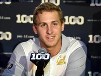 Jul 31, 2015; Burbank, CA, USA; California Golden Bears quarterback Jared Goff at Pac-12 Media Day at Warner Bros. Studios. Mandatory Credit: Kirby Lee-USA TODAY Sports
