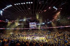 Confetti falls from the ceiling after the Golden State Warriors win game five of the first round of the NBA Playoffs against the Houston Rockets at Oracle Arena. The Golden State Warriors defeated the Houston Rockets 114-81. Mandatory Credit: Kelley L Cox-USA TODAY Sports