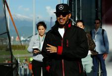 Atual campeão mundial da Fórmula 1, Lewis Hamilton.    28/04/2016        REUTERS/Maxim Shemetov