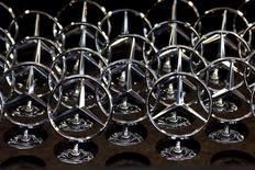 Car bonnet emblems for Mercedes-Benz S-class models are pictured at a plant in Sindelfingen near Stuttgart January 28, 2015.  REUTERS/Michael Dalder