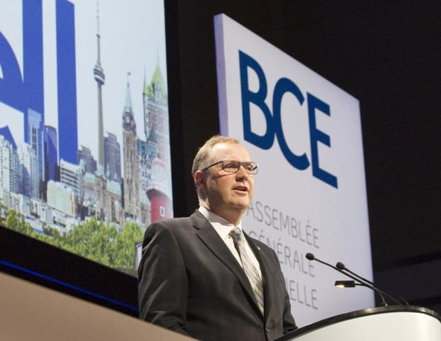 George Cope, President and Chief Executive Officer of BCE, addresses shareholders at the company's Annual General Meeting, in Toronto April 30, 2015. REUTERS/Fred Thornhill