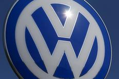 A Volkswagen logo is pictured at Volkswagen's headquarters in Wolfsburg, Germany, April 22, 2016.  REUTERS/Hannibal Hanschke/File Photo