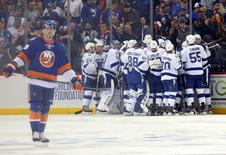 Tampa Bay Lightning celebrates after goal by Tampa Bay Lightning center Brian Boyle (11) in overtime in game three of the second round of the 2016 Stanley Cup Playoffs at Barclays Center. Mandatory Credit: Anthony Gruppuso-USA TODAY Sports