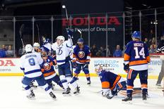 May 3, 2016; Brooklyn, NY, USA; Tampa Bay Lightning celebrates a goal in game three of the second round of the 2016 Stanley Cup Playoffs against the New York Islanders at Barclays Center. Tampa Bay Lightning won 5-4. Mandatory Credit: Anthony Gruppuso-USA TODAY Sports