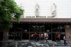 An exterior view of the downtown court house where a judge is hearing the case of the health of the controlling shareholder of Viacom and CBS, Sumner Redstone in Los Angeles, California, May 6, 2016. REUTERS/Kevork Djansezian