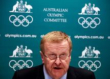 John Coates, President of the Australian Olympic Committee (AOC) speaks at a media conference in Sydney August 23, 2013. REUTERS/David Gray