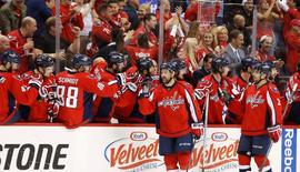 May 7, 2016; Washington, DC, USA; Washington Capitals right wing Justin Williams (14) celebrates with teammates after scoring a goal against the Pittsburgh Penguins in the second period in game five of the second round of the 2016 Stanley Cup Playoffs at Verizon Center. Mandatory Credit: Geoff Burke-USA TODAY Sports