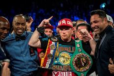 May 7, 2016; Las Vegas, NV, USA;  Canelo Alvarez poses for a photo after defeating Amir Khan during their middleweight boxing title fight at T-Mobile Arena. Mandatory Credit: Joshua Dahl-USA TODAY Sports