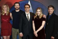 "Actors (L-R) Emily VanCamp, Chris Evans, Robert Downey Jr, Elizabeth Olsen and Jeremy Renner, pose for photographers at a media event ahead of the release of, ""Captain America: Civil War"", in London, Britain, April 25, 2016.  REUTERS/Peter Nicholls"