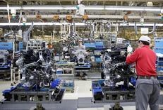 Employees work at the main assembly line of V6 engine at the Nissan Iwaki Plant in Iwaki city, Fukushima prefecture, Japan, April 5, 2016. REUTERS/Yuya Shino