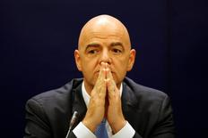 FIFA President Gianni Infantino attends a news conference in Bangkok, Thailand April 28, 2016. REUTERS/Jorge Silva/Files