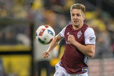 May 14, 2016; Columbus, OH, USA; Colorado Rapids forward Kevin Doyle (9) chases down a ball in the second half of the game against the Columbus Crew SC at MAPFRE Stadium. Columbus Crew SC and Colorado Rapids match ends in a 1-1 draw. Mandatory Credit: Trevor Ruszkowski-USA TODAY Sports