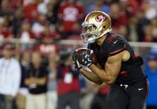 Sep 14, 2015; Santa Clara, CA, USA; San Francisco 49ers running back Jarryd Hayne (38) catches the ball on a punt return against the Minnesota Vikings during the second quarter at Levi's Stadium. Mandatory Credit: Kelley L Cox-USA TODAY Sports