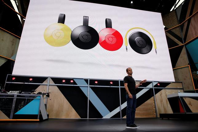 Mario Queiroz, vice president of product management at Google, speaks on stage during the Google I/O 2016 developers conference in Mountain View, California, U.S. May 18, 2016.  REUTERS/Stephen Lam
