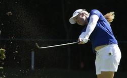 Jul 10, 2015; Lancaster, PA, USA; Brittany Lincicome makes a fairway shot on the thirteenth hole during the second round of the U.S. Women's Open at Lancaster Country Club. Mandatory Credit: Kyle Terada-USA TODAY Sports