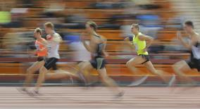 Athletes compete during the Russian Indoor Championships 2016 in Moscow, Russia, February 24, 2016. Picture taken February 24, 2016. REUTERS/Maxim Shemetov