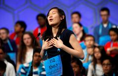 Emily Sun of Boston, MA, shows her relief after a correct spelling during a preliminary round at the 89th annual Scripps National Spelling Bee at National Harbor in Maryland, U.S., May 25, 2016. REUTERS/Kevin Lamarque