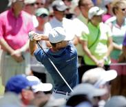 May 29, 2016; Fort Worth, TX, USA; Jordan Spieth tees off on the 3rd hole of the final round of the 2016 Dean & Deluca Invitational at Colonial Country Club. Mandatory Credit: Erich Schlegel-USA TODAY Sports