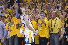 May 30, 2016; Oakland, CA, USA; Golden State Warriors guard Stephen Curry (30) celebrates during the fourth quarter in game seven of the Western conference finals of the NBA Playoffs against the Oklahoma City Thunder at Oracle Arena. The Warriors defeated the Thunder 96-88. Mandatory Credit: Kyle Terada-USA TODAY Sports