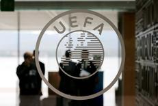 A logo is pictured on UEFA headquarters in Nyon, Switzerland, April 15, 2016.  REUTERS/Denis Balibouse
