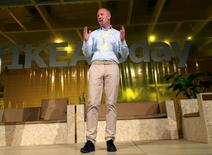 IKEA Group CEO Peter Agnefjall speaks during a presentation on design to media in Almhult, Sweden June 8, 2016. REUTERS/Anna Ringstrom
