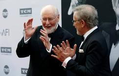Composer and honoree John Williams (L) gestures with director Steven Spielberg at the American Film Institute's (AFI) 44th Life Achievement Award at Dolby theatre in Hollywood, California U.S. June 9, 2016. REUTERS/Mario Anzuoni
