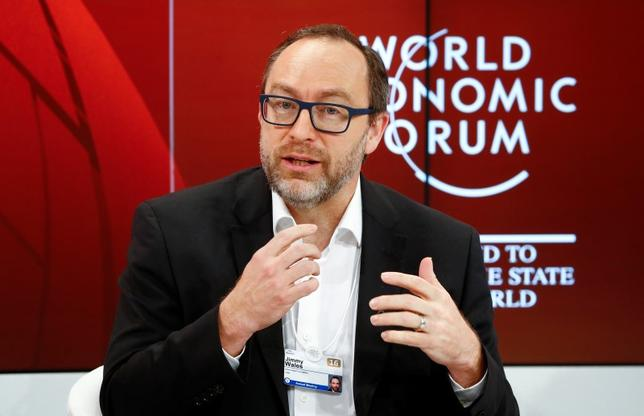 Jimmy Wales, Founder and Chair Emeritus, Board of Trustees, Wikimedia Foundation, gestures during the session 'The Future of Education: Lessons in Uncertainty' at the annual meeting of the World Economic Forum (WEF) in Davos, Switzerland January 21, 2016. REUTERS/Ruben Sprich