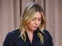 Maria Sharapova speaks to the media announcing a failed drug test after the Australian Open during a press conference today at The LA Hotel Downtown on Mar 7, 2016. Mandatory Credit: Jayne Kamin-Oncea-USA TODAY Sports