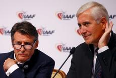 IAAF President Sebastian Coe (L) and Rune Andersen, head of the IAAF taskforce on Russia, listens to a journalist question during a news conference after the International Association of Athletics Federations (IAAF) council meeting in Vienna, Austria, June 17, 2016.  REUTERS/Leonhard Foeger
