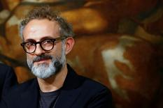 """Osteria Francescana's chef-owner Massimo Bottura looks on during a ceremony, to celebrate his victory in the """"World's 50 Best Restaurants 2016"""", at Chigi Palace in Rome, Italy June 20, 2016. REUTERS/Tony Gentile"""