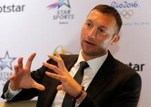 Australian swimmer Ian Thorpe speaks during an interview with Reuters in Mumbai, India, June 16, 2016. REUTERS/Shailesh Andrade