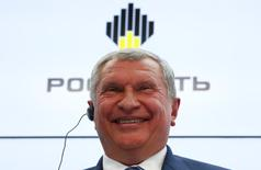 Head of Russian state oil firm Rosneft Igor Sechin reacts during a session of the St. Petersburg International Economic Forum 2016 (SPIEF 2016) in St. Petersburg, Russia, June 16, 2016. REUTERS/Sergei Karpukhin