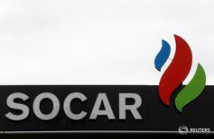 Логотип SOCAR Energy Switzerland в Берне 9 мая 2016 года. Азербайджан и Китай не участвуют в футбольном Евро-2016, однако турнир позволил оказаться в центре внимания ведущим компаниям обеих стран. REUTERS/Ruben Sprich