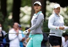 Jun 12, 2016; Sammamish, WA, USA; Lydia Ko, left watches her drive along with Brittany Lincicome on the third hole during the final round of the KPMG Women's PGA Championship at Sahalee Country Club - South/North Course. Mandatory Credit: Joe Nicholson-USA TODAY Sports