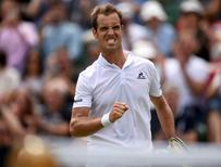 Britain Tennis - Wimbledon - All England Lawn Tennis & Croquet Club, Wimbledon, England - 28/6/16 France's Richard Gasquet celebrates winning his match against Great Britain's Aljaz Bedene REUTERS/Tony O'Brien