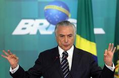 Presidente interino Michel Temer durante cerimônia de anúncio do reajuste do Bolsa Família no Palácio do Planalto 29/06/2016. REUTERS/Adriano Machado