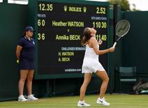 Britain Tennis - Wimbledon - All England Lawn Tennis & Croquet Club, Wimbledon, England - 30/6/16 Germany's Annika Beck celebrates winning her  match against Great Britain's Heather Watson REUTERS/Stefan Wermuth