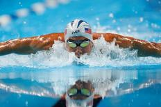 Jun 30, 2016; Omaha, NE, USA; Michael Phelps swims during the Men's 200 Meter Individual Medley semi-finals in the U.S. Olympic swimming team trials at CenturyLink Center. Mandatory Credit: Rob Schumacher-USA TODAY Sports