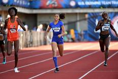 Jul 1, 2016; Eugene, OR, USA; Shakima Wimbley (left) and Allyson Felix (middle) and Jessica Beard (right) compete during the women's 400m first round heats in the 2016 U.S. Olympic track and field team trials at Hayward Field.  Mandatory Credit: James Lang-USA TODAY Sports