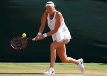 Britain Tennis - Wimbledon - All England Lawn Tennis & Croquet Club, Wimbledon, England - 2/7/16 Czech Republic's Petra Kvitova in action against Russia's Ekaterina Makarova REUTERS/Andrew Couldridge
