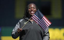 Jul 6, 2016; Eugene, OR, USA; Amber Campbell reacts after medaling in the women's hammer throw final in the 2016 U.S. Olympic track and field team trials at Hayward Field. Mandatory Credit: Kirby Lee-USA TODAY Sports