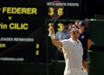 Jul 7, 2016; London, United Kingdom; Roger Federer (SUI) celebrates match point during his match against Marin Cilic (CRO) on day 10 of the 2016 The Championships Wimbledon. Credit: Susan Mullane-USA TODAY Sports
