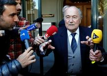 Former FIFA President Sepp Blatter leaves  the Court of Arbitration for Sport (CAS) where he was cited as a witness in an appeal of UEFA President Michel Platini against FIFA's ethics committee's ban, in Lausanne, Switzerland April 29, 2016. REUTERS/Denis Balibouse