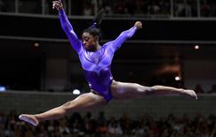 Jul 8, 2016; San Jose, CA, USA; Simone Biles from Spring, TX, during the balance beam in the women's gymnastics U.S. Olympic team trials at SAP Center. Mandatory Credit: Robert Hanashiro-USA TODAY Sports
