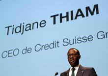 Chief Executive Tidjane Thiam of Swiss bank Credit Suisse speaks during the Forum 100 conference in Lausanne, Switzerland May 19, 2016.   REUTERS/Denis Balibouse/File Photo